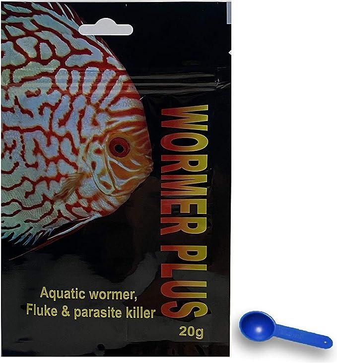 Amazon.com: Plymouth Discus Product WORMER Plus - Medicación en polvo de pescado de agua dulce y salada. Desparasitante para peces con parásitos y flukes. 20G - Trata 2400 galones: Mascotas