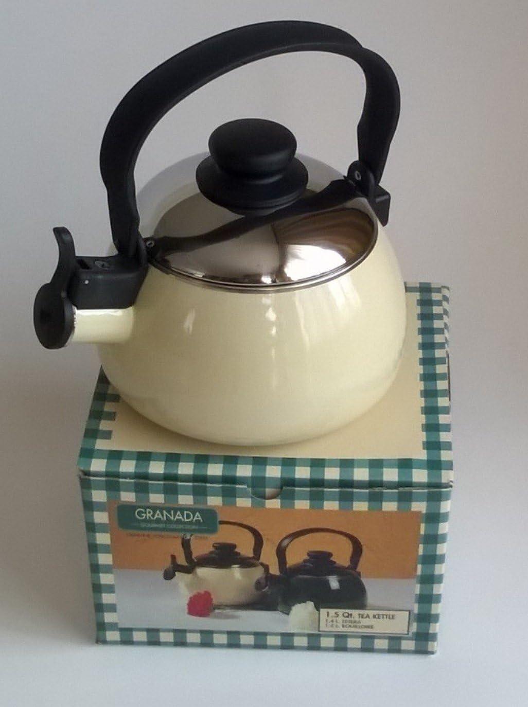 Menax - Cafetera Pava en Acero Esmaltado - Beige Crema: Amazon.es ...