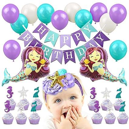 Amazon Com Mermaid 1st Birthday Decorations Mermaid Balloons