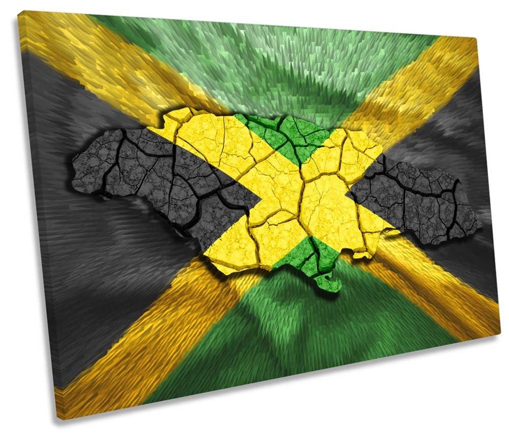 Karte von Jamaika Flagge Single Leinwand Kunstdruck Bild, 60cm wide x 40cm high