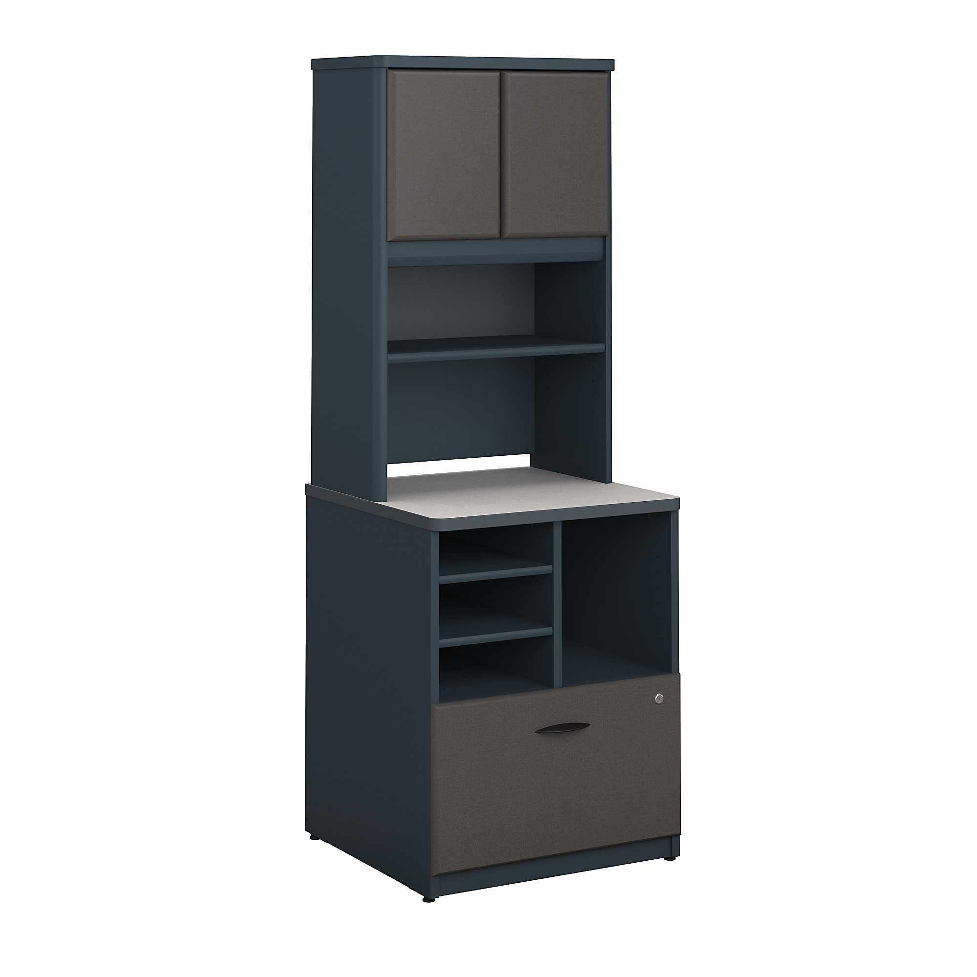 Bush Business Furniture Series A 24W Piler Filer Cabinet with Hutch in Slate and White Spectrum