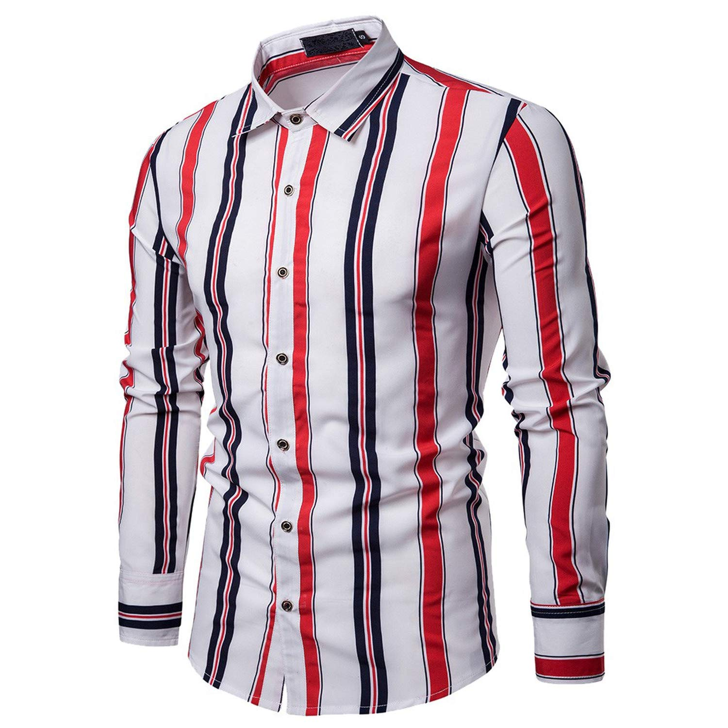 Striped Print Shirt Mens Casual Slim Fit Tops Shirts Work Wear Business Blouse Stand Long Sleeve Button Top,Black,S,United States