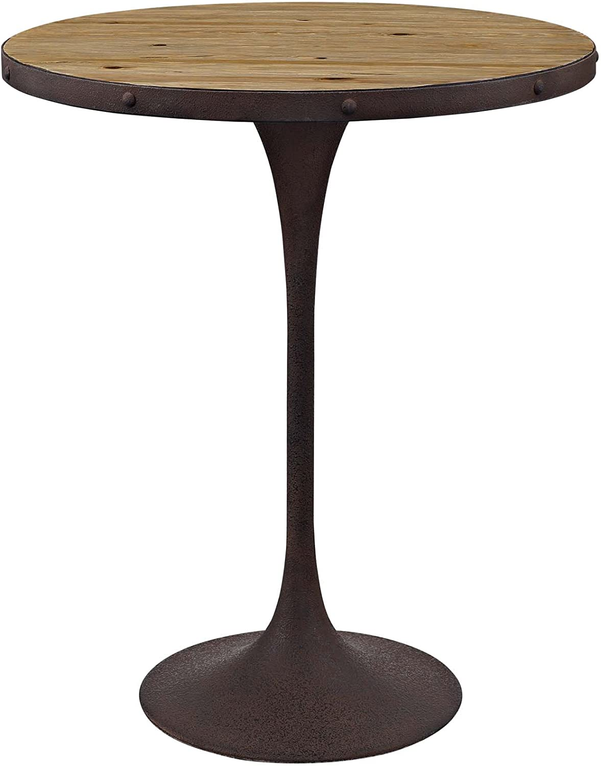 """Modway Drive 36"""" Rustic Modern Farmhouse Dining Table with Round Pine Brown Wood Top and Iron Base in Brown"""