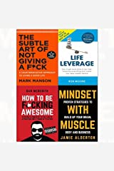Subtle art of not giving a f*ck[hardcover], life leverage, how to be f*cking awesome, mindset with muscle 4 books collection set Paperback