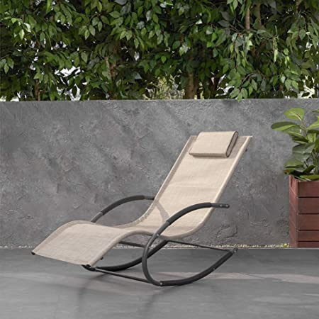 Tommy Bahama Outdoor Cushions, Amazon Com Crestlive Products Patio Rocking Chair Curved Rocker Chaise Lounge Chair With Pillow For Beach Yard Pool Outdoor Indoor Gray Steel Frame Beige Kitchen Dining