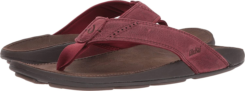 Olukai Mens Nui Terra Dark Wood 8 D Us Sandals Island Shoes Style Hikers Dm Leather Cokelat