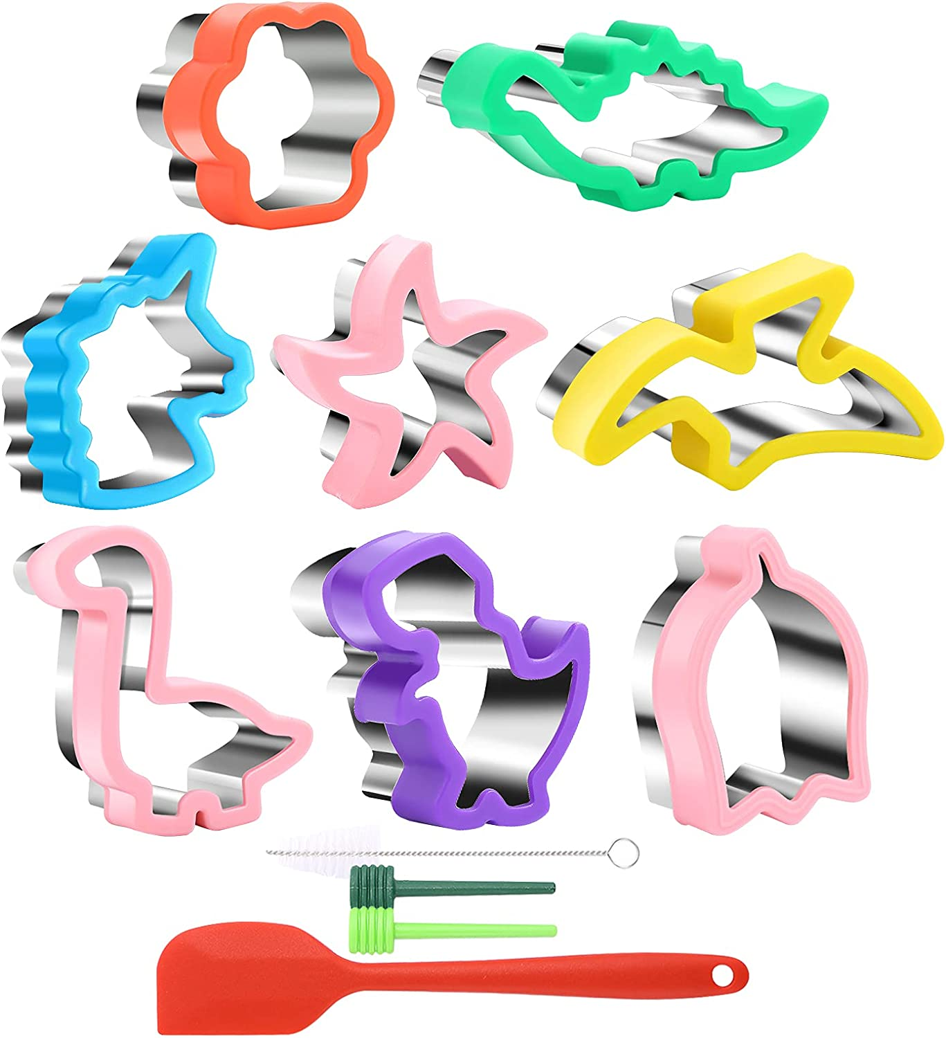 Stainless Steel Cookie Cutter Set, Fanerfun Sandwich Cutters for Kids, Dinosaur & Tulip & Star Shapes & Butter Knife Vegetable Cutter Suitable for Baking Cakes Fruits
