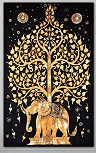 Popular Handicrafts Elephant Tree Tapestry Hippie Gypsy Wall Hanging (Gold/Black)