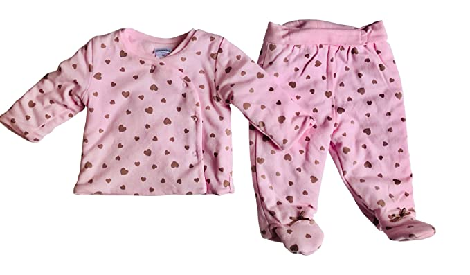 f242c8b4f Amazon.com: Baby Girl Simple Pale Pink with Hearts Easy Fit 2 Piece ...