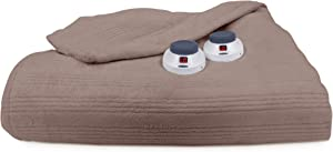 Perfect Fit Ultra Soft Plush Electric Heated Warming Blanket with Safe & Warm Low-Voltage Technology, Twin, Beige