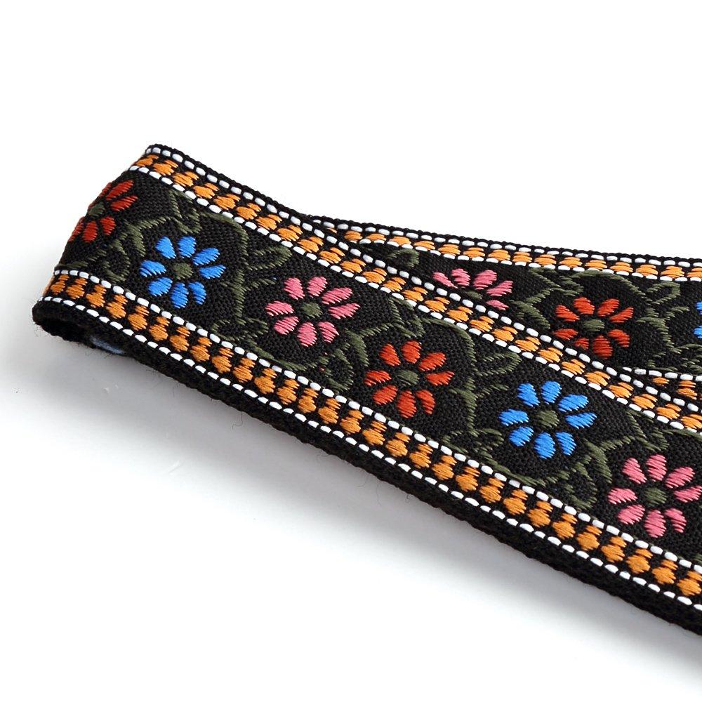 CLOUDMUSIC Jacquard Weave Style Hawaiian Ukulele Strap Diamond Floral Shape