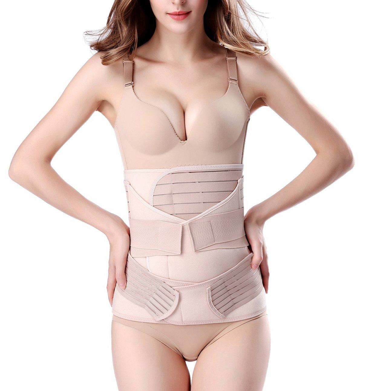 Chongerfei 3 in 1 Postpartum Support Recovery Belly Wrap Waist/Pelvis Belt Body Shaper Postnatal Shapewear (Plus Size for Weight Over 190lbs, Beige)