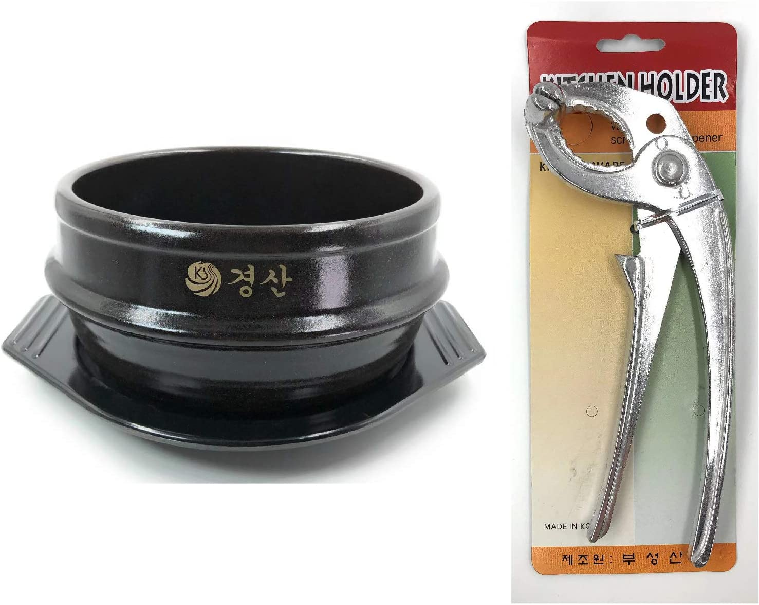 Jovely Korean Cooking Stone Bowl(Dolsot or Ddukbaegi), Diameter 6.3'' High 2.95'', Sizzling Hot Pot for Bibimbap and Soup with Premium Ceramic Tray and Special Bowl Tongs