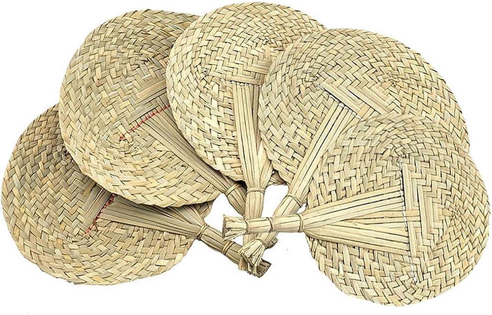 YIY 5 abancos de mano tejidos naturales hechos a mano con hojas de palma, abanicos de mano de rafia, ventiladores de Buri, ventilador de verano de estilo chino