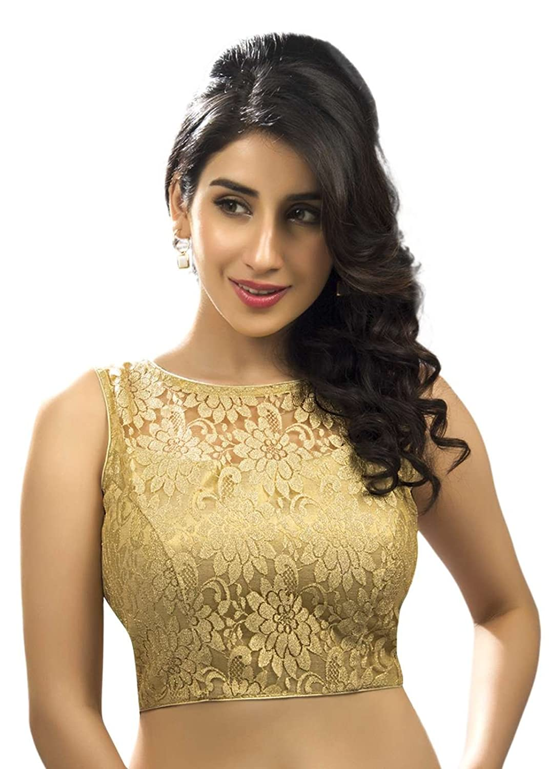 fef0ee3eb9ca99 Fancy sleeveless gold net fabric saree blouse made in fine zari floral net  fabric. Transparentánet at the neckline. Two hooks at the back forming a  keyhole ...