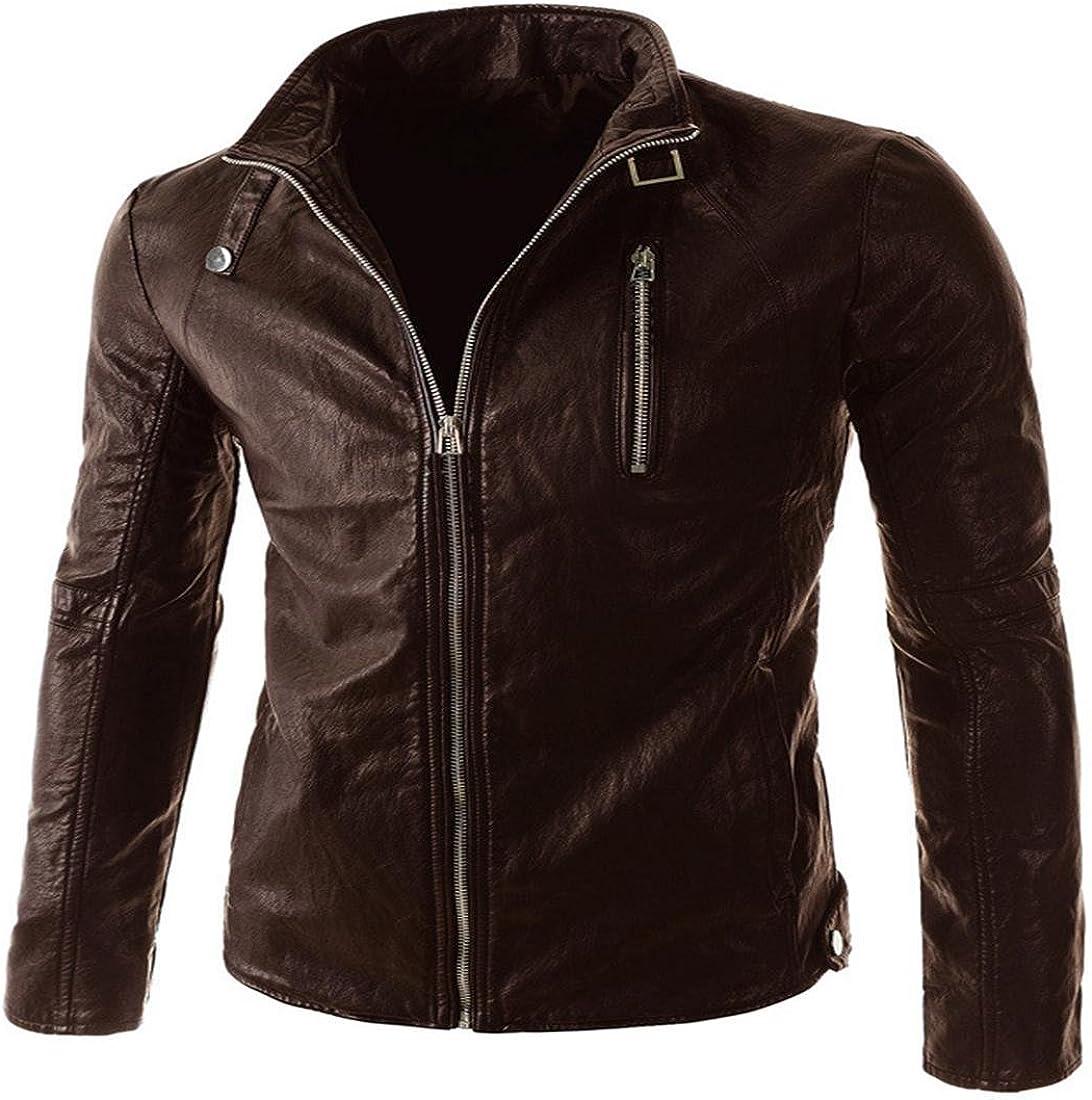 PJK Chaquetas de cuero para hombres Small Fashion,dark brown,xl