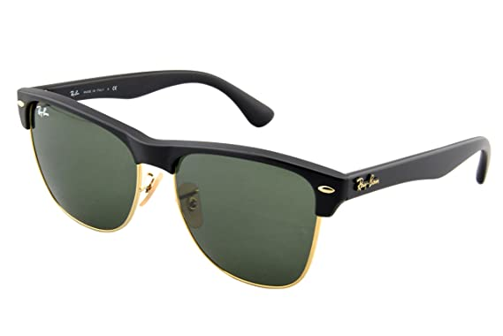 Ray-Ban CLUBMASTER OVERSIZED - DEMI SHINY BLACK/ARISTA Frame CRYSTAL GREEN Lenses 57mm