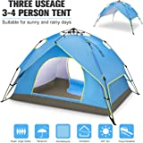 BATTOP 4 Person Family Camping Tent, 3 Usages Double Layer Waterproof Sun Shelter, Automatic Instant Pop Up Tents For Outdoor