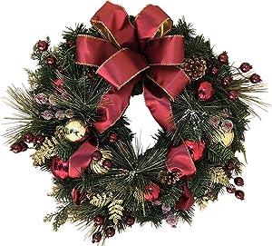 The Wreath Depot Easton Christmas Wreath, 22 Inch Elegant Designer Quality, White Gift Box