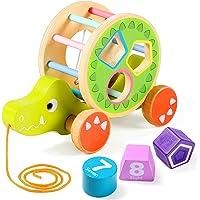 Lewo Nachziehspielzeug Ziehspielzeug mit Formsortierer Holz Lernspielzeug Spielzeug für 1 2 Jahre Kleinkind Jungen Mädchen