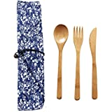 EBILUN Cutlery Set   Travel Cutlery Set   Eco Friendly Flatware Set   Portable Spoon Fork Knife Camping Tableware Set   Reusable Cutlery Set W/Bag for Perfect Replaceing Plastic Cutlery Set