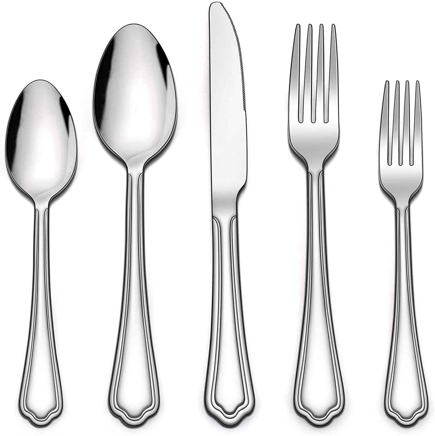 LIANYU 40-Piece Silverware Set, Stainless Steel Flatware Cutlery Set for 8, Eating Utensils Set with Scalloped Edge, Include Knives Forks Spoons, Dishwasher Safe, Mirror Polished