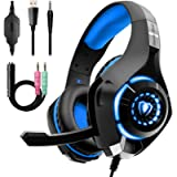 Gaming Headset for PS4 Xbox One, Over-Ear Gaming Headphones with Noise Reduction Mic Volume Control LED Light for PC PS5…