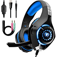 Beexcellent Gaming Headset for PS4 Xbox One, Over-Ear Gaming Headphones with Noise Reduction Mic Volume Control LED…