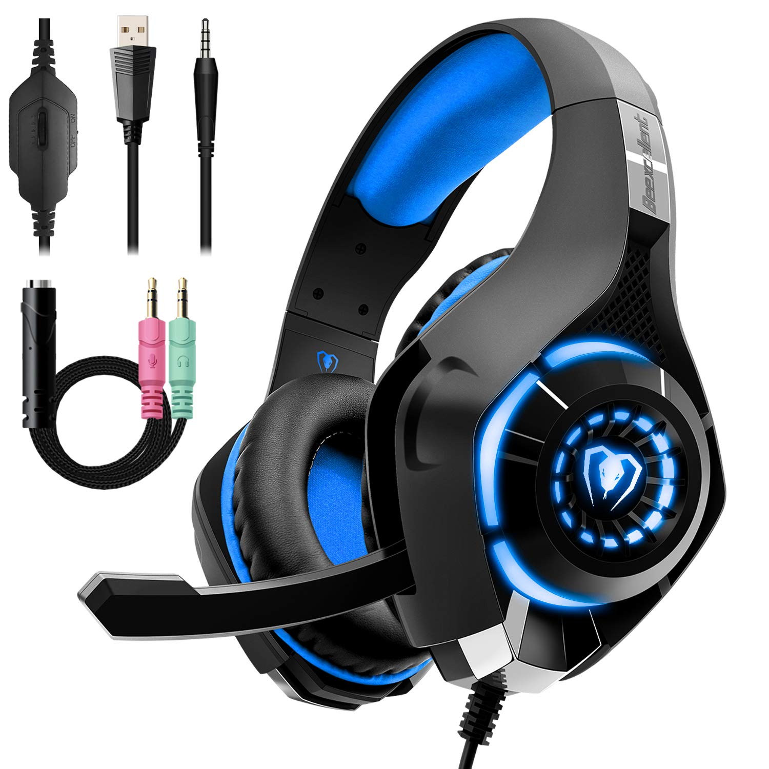 Gaming Headset for PC PS4 Beexcellent Stereo Surround Sound Gaming Headphones with Noise Cancelling Microphone Volume Control LED Lights for Xbox One Laptops Mac Smartphone RED
