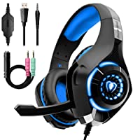 Beexcellent Gaming Headset for PS4 Xbox One, Over-Ear Gaming Headphones with Noise Reduction Mic Volume Control LED Light for PC Laptop Mac Tablet Smart Phone
