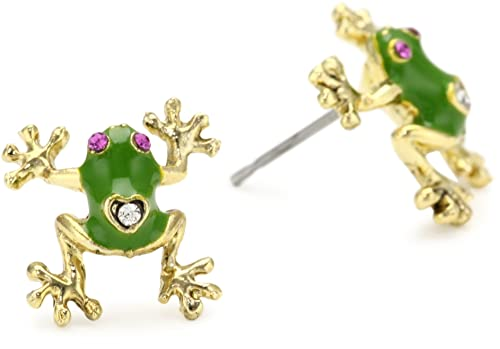 Bling Jewelry Simulated Emerald May Birthstone Frog Animal CZ Stud earrings 925 Sterling Silver 10mm T33Yu