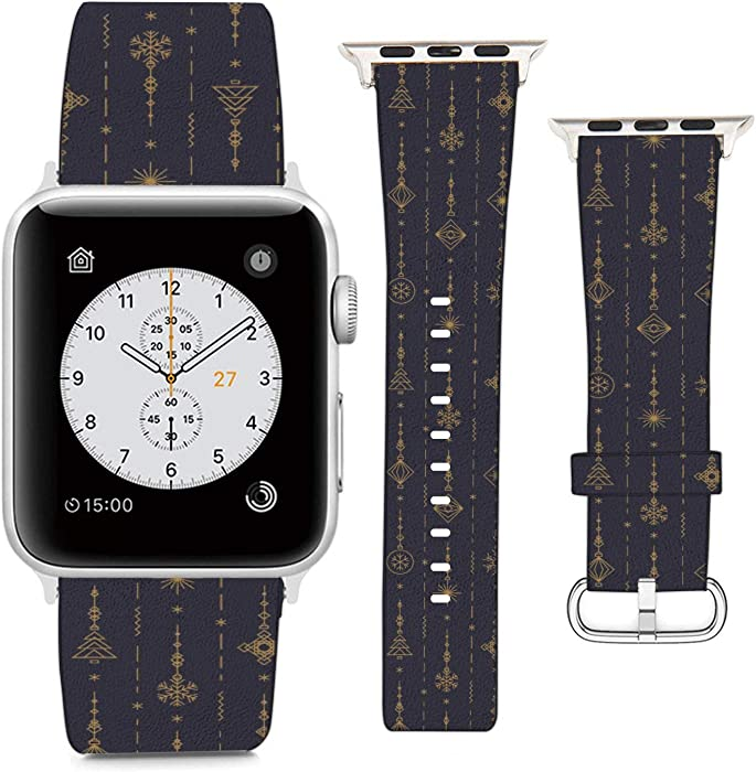 Compatible with Apple Watch Wristband 38mm 40mm, (Toy - Ball, Snowflake, Tree Art Deco Line Style) PU Leather Band Replacement Strap for iWatch Series 5 4 3 2 1