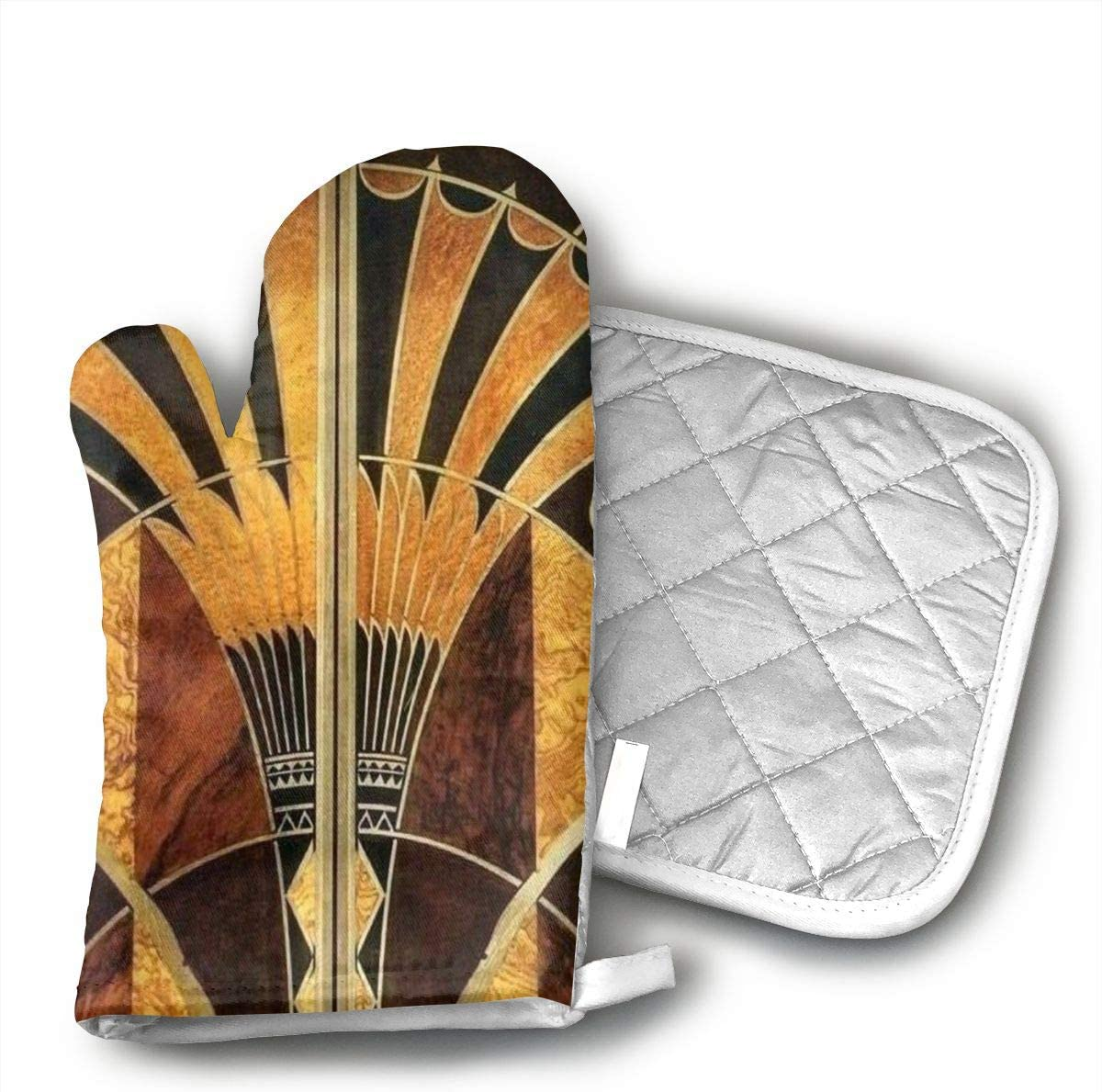 HGUIDHG Art Deco Oven Mitts+Insulated Square Mat,Heat Resistant Kitchen Gloves Soft Insulated Deep Pockets, Non-Slip Handles