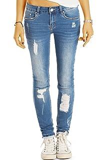 bestyledberlin Damen Röhrenjeans, Used Look Skinny Fit Jeans, Sehr Enge  aufgerissene Jeans j46k 8c6a75cd27