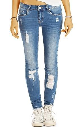 Bestyledberlin Damen Röhrenjeans Used Look Skinny Fit Jeans Sehr