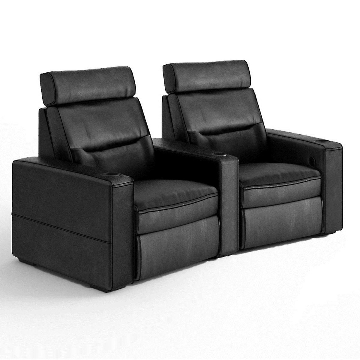 Salamander TC3 AV Basics 2-Seat Wedge Motorized Recliner Home Theater Seating (Black Bonded Leather)