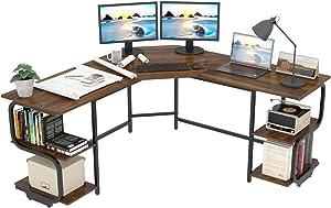 Teraves Modern L Shaped Desk with Shelves,Computer Desk/Gaming Desk for Home Office,Corner Desk with Large Desktop (Teak+Black Frame)