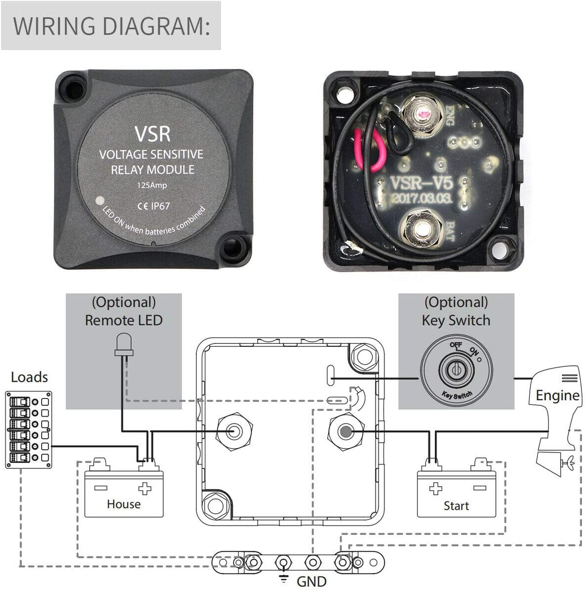 12V 140Amp jamgoer Car Dual Battery System Isolator Voltage Sensitive Relay /& Wiring Cable Kit Heavy Duty VSR