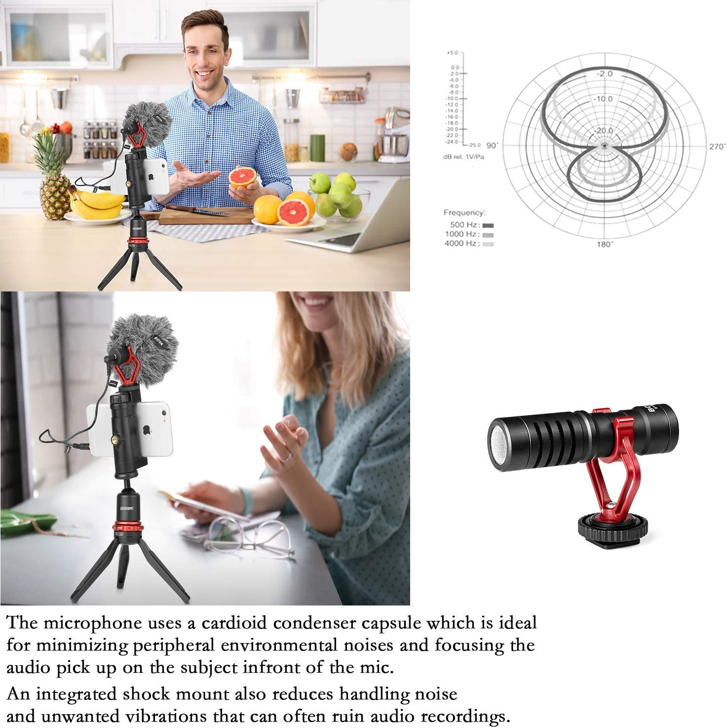 Mini micr/ófono de grabaci/ón en la c/ámara Compacto Universal Mac BOYA Micr/ófono de Video Tipo Pistola Tableta Tel/éfonos Inteligentes Android iPhone Videoc/ámara Condensador direccional para DSLR