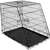 Kerbl Slanted Front Dog Cage Collapsible 2 Doors, 76 x 54 x 64 cm, Black