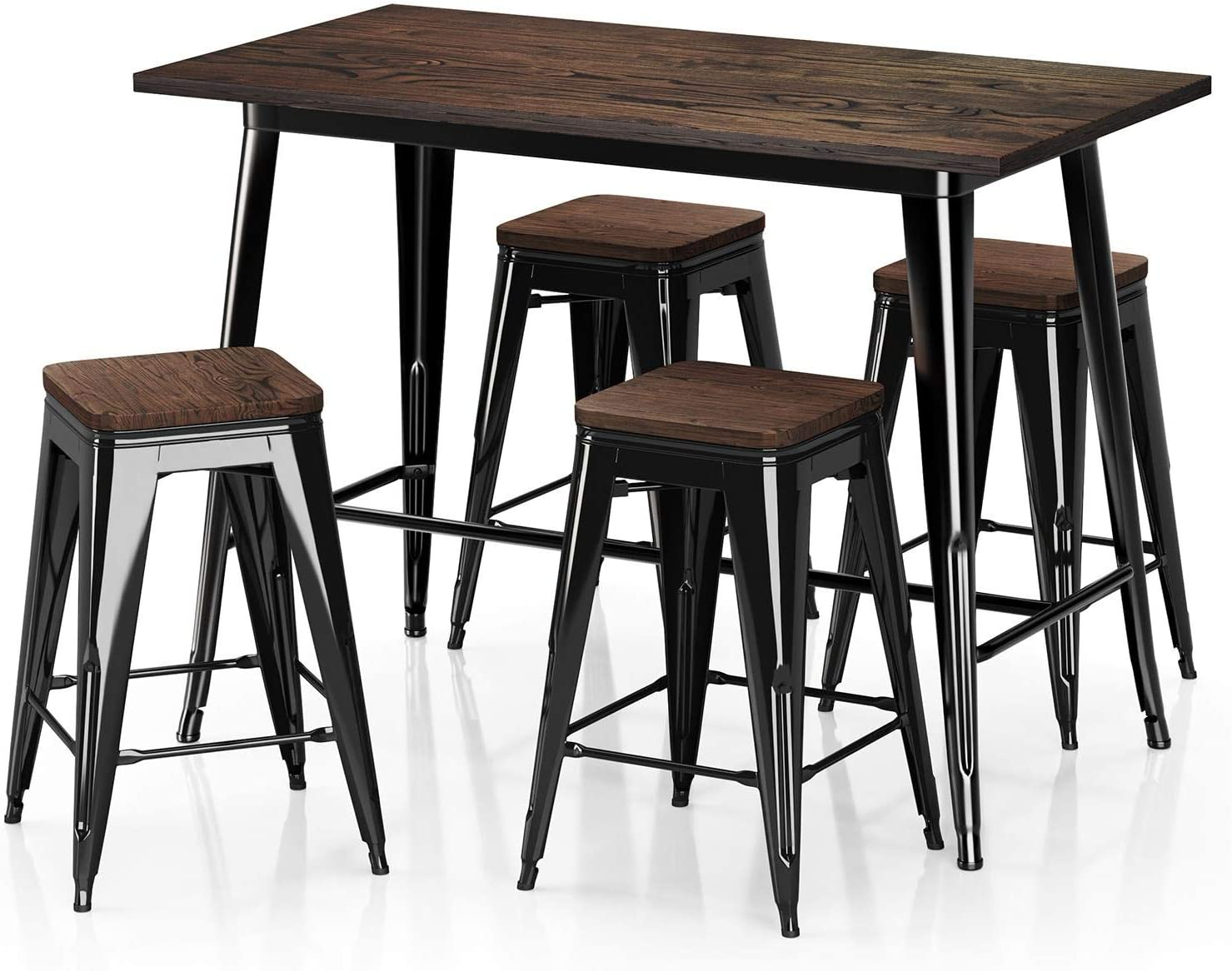 Amazon Com Vipek 35 43 Metal Counter Height Dining Table 24 Stools Sets With Solid Wood Top Heavy Duty Rectangle Dining Table 4pcs Barstool For Farmhouse Patio Pub Bar Restaurant Bistro Gloss