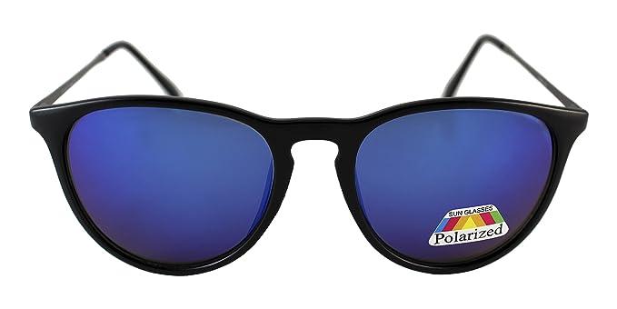 Twice -TWP06 Gafas de sol montura negra con lente azul espejado y polarizada