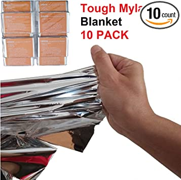 Double-Sided Reflective Foil Blankets Survival 5 Pck Emergency Thermal Blankets