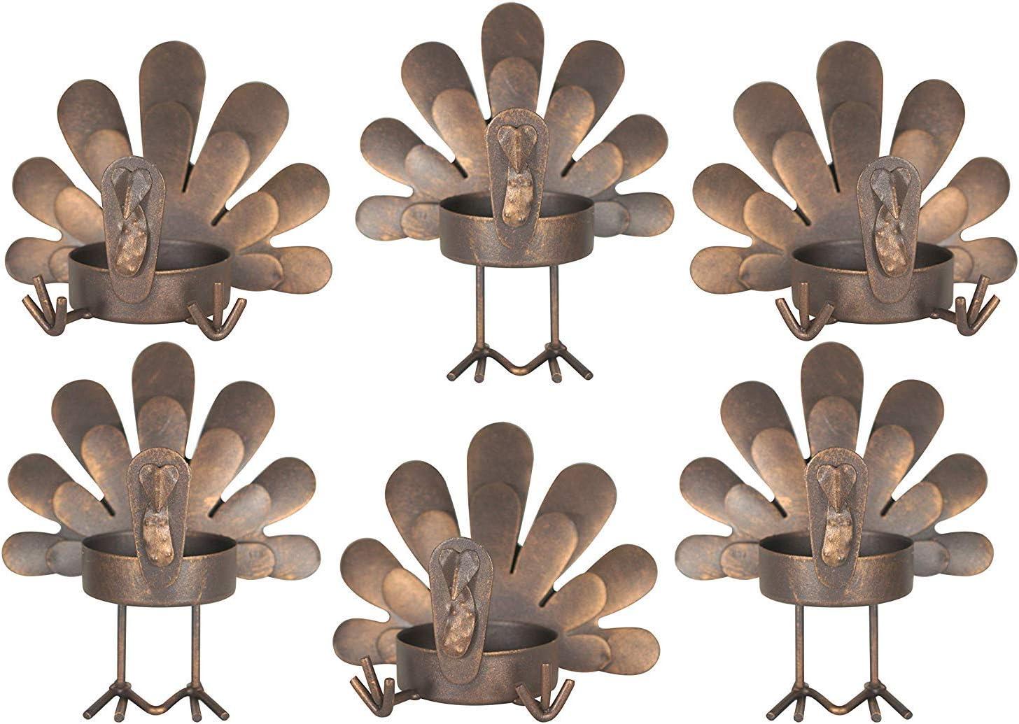 Set of 6 Turkey Tea Light Candleholders