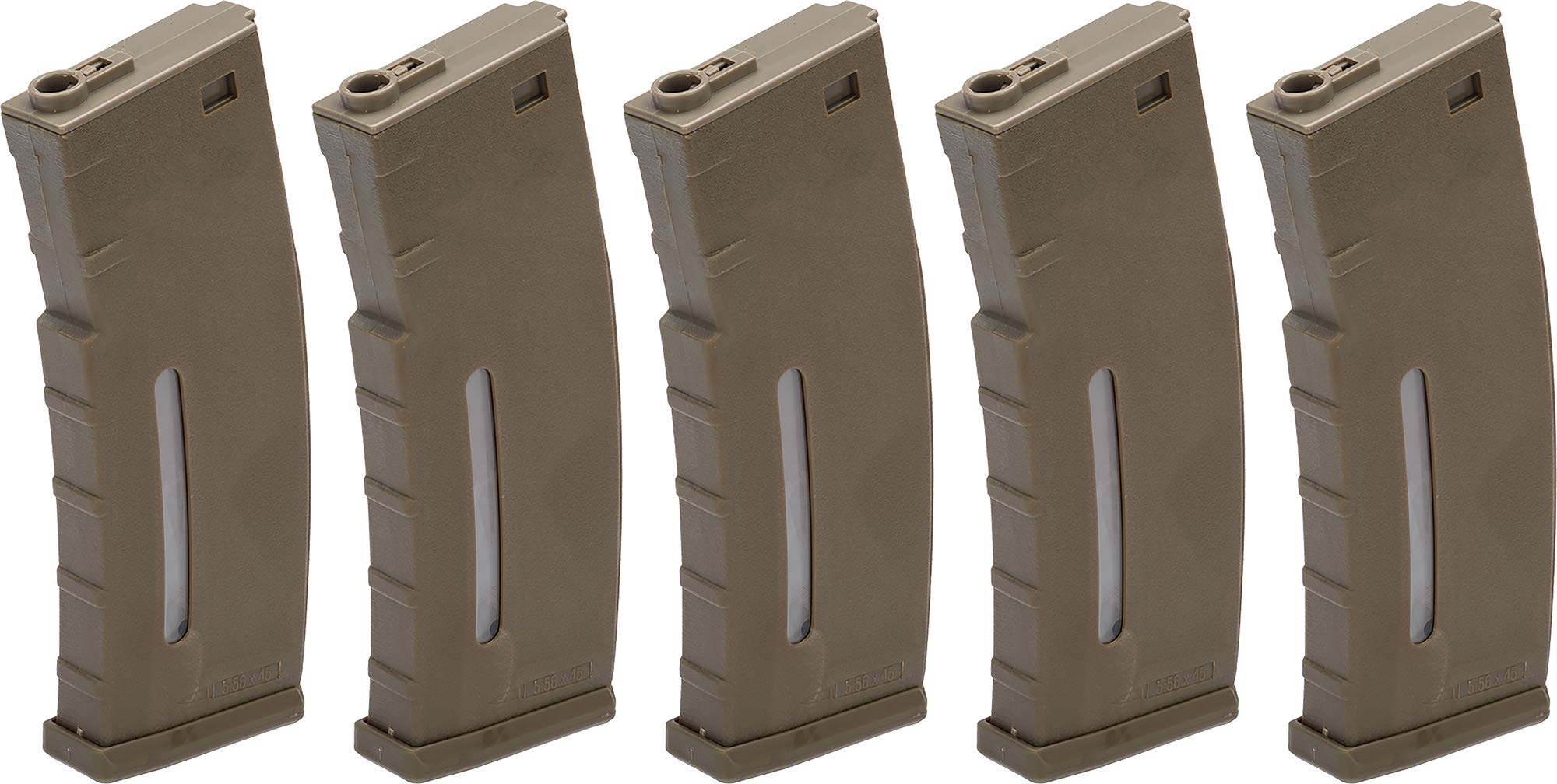 Evike BAMF 190rd Polymer Mid-Cap Airsoft Magazine for M4 / M16 Series AEG Rifles (Color: Tan / x5 Package) by Evike
