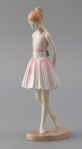 8.75 Inch Porcelain Figurine Standing Young Girl Ballerina in Pink