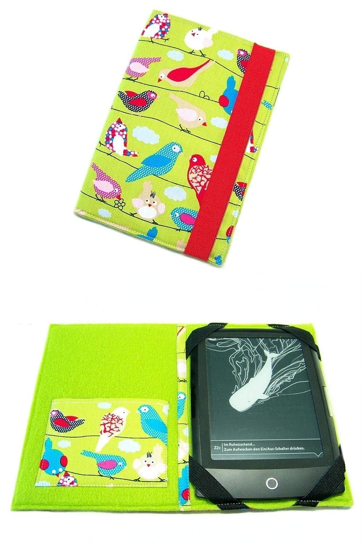 aufklappbare eBook Reader eReader Tablet Hülle Green Birds, Maßanfertigung, z.B. für Kindle, Samsung Galaxy Tab, Sony, Trekstor, Pocketbook, Tolino, Kobo, iPad Mini, Nook, Dell Venue Maßanfertigung z.B. für Kindle
