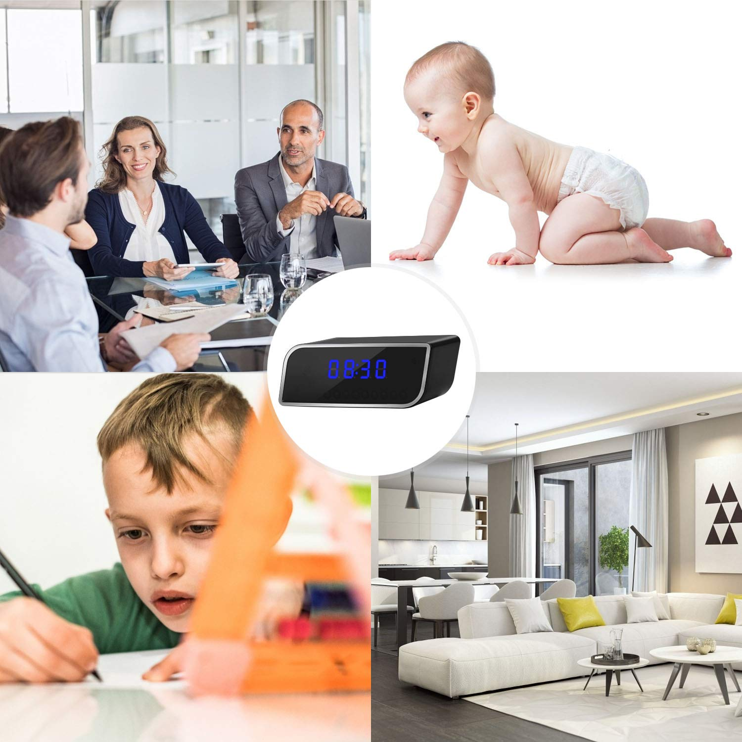 can be viewed remotely Through APP Alarm Camera Clock Wireless WiFi Camera 1080P Clock Camera with Night Vision Function and Motion Detection Angle Suitable for Home Security