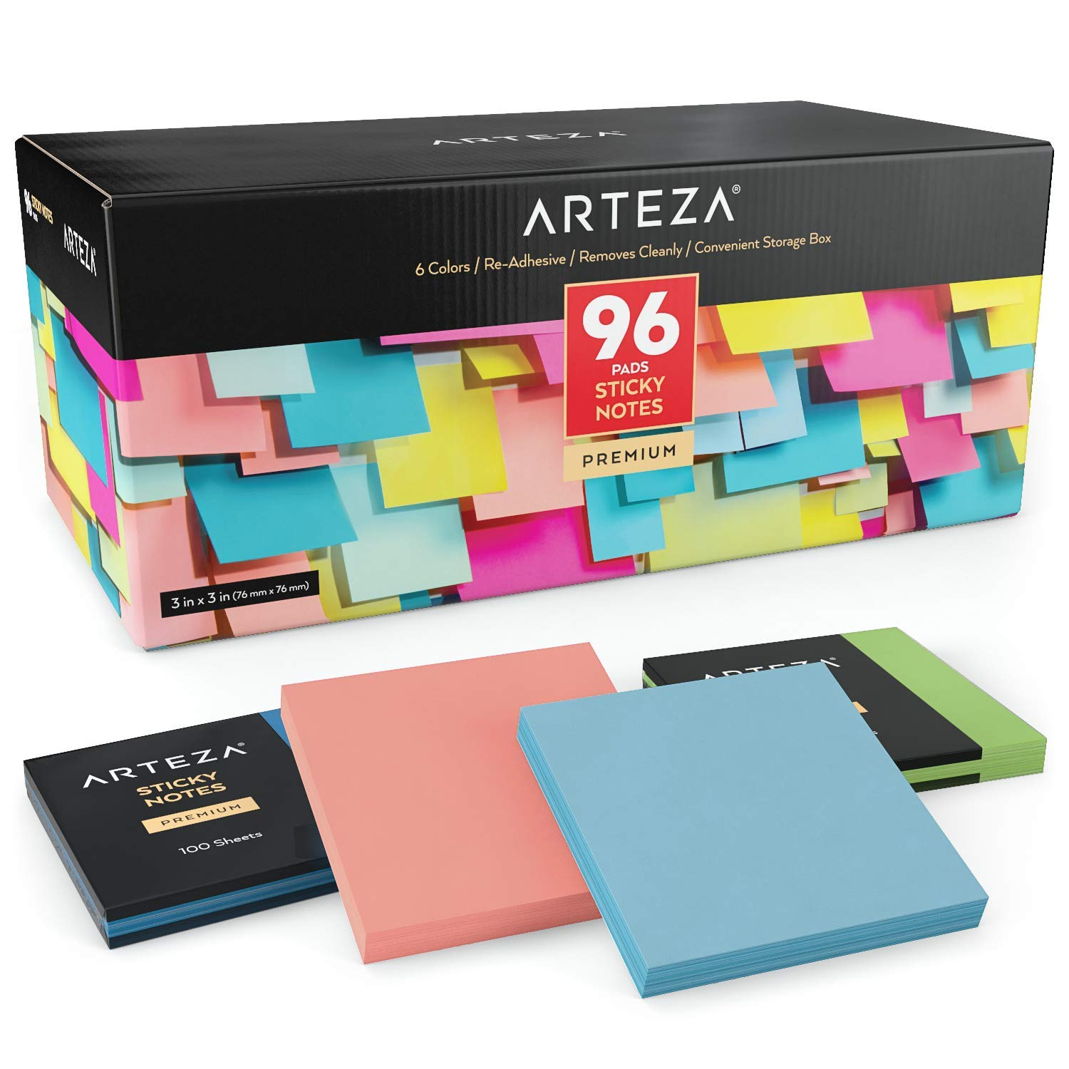 ARTEZA 3x3 Inches Sticky Notes, 96 Pads, 100 Sheets Per Pad, Bulk Pack, Assorted Colors, Re-Adhesive, Clean Removal, for Reminders, Studying, Office, School, and Home by ARTEZA