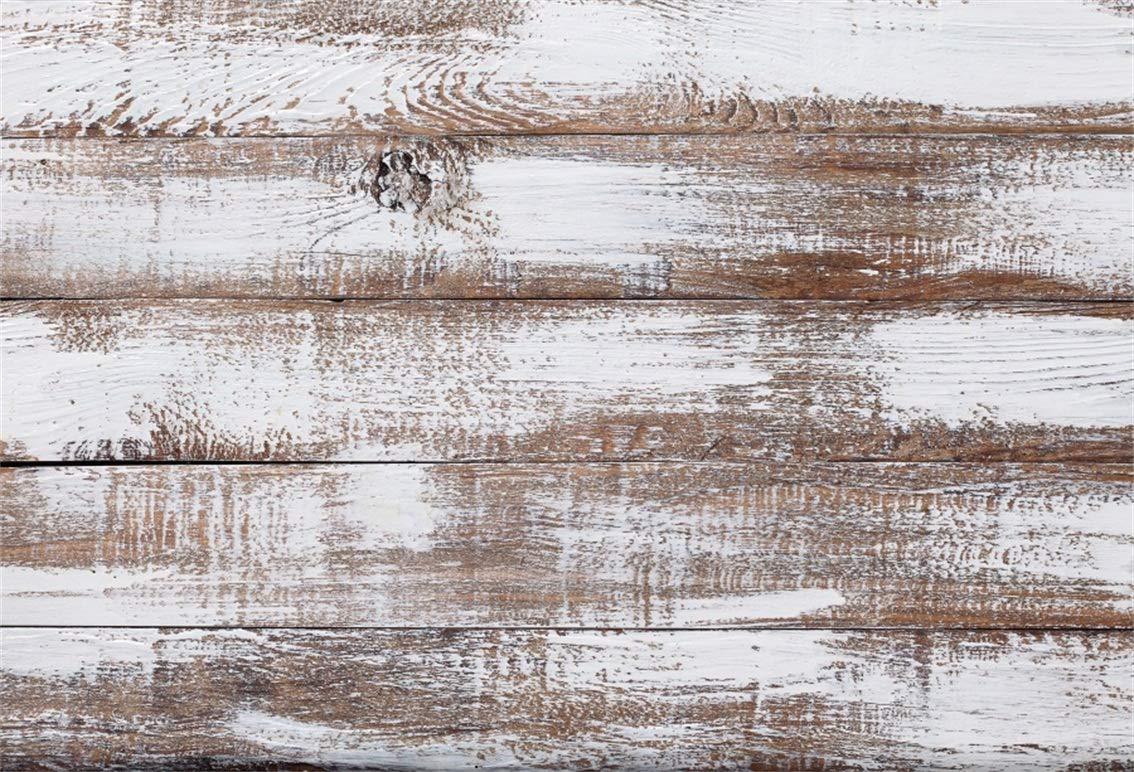 CSFOTO 8 x 6フィート 背景 ホワイトピーリング 木製 壁 写真背景 ヴィンテージ木製床 ホワイトペイント 古い板 素朴な木板 子供 赤ちゃん 大人 ポートレート 写真スタジオ小道具 ビニール壁紙   B07GRQPRSJ